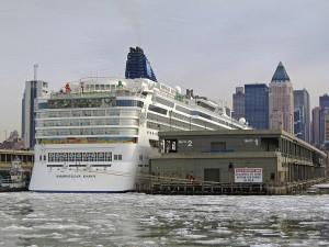 Norwegian Dawn docked at Manhattan Cruise Terminal