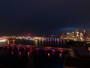 Port of Miami and Miami Downtown at Night