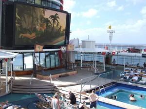 Goofy's Pool and Big Outdoor Screen on Disney Magic Cruise Ship